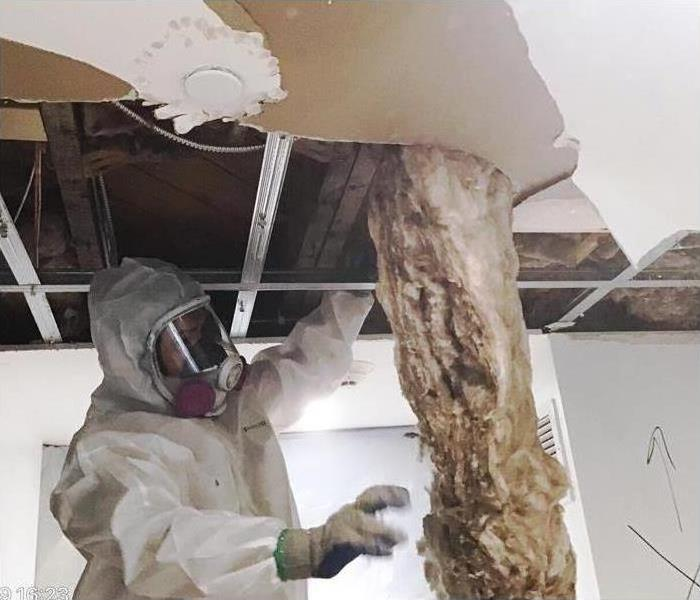 technician removing damaged insulation during water restoration