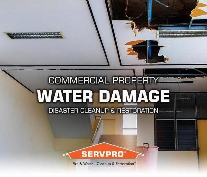 roof water property damage in large commercial school building