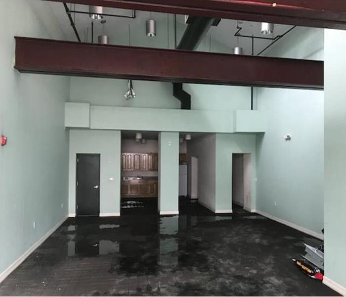 flood damage after storm in commercial building