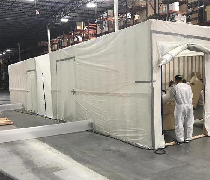 commercial warehouse on-site clean room for mold remediation